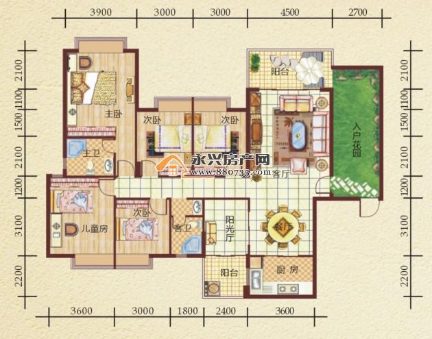 B2户型 三室两厅一厨两卫 户型面积:137.7 140.6 客厅、餐厅融会贯通,为室内增添无限想象; 三阳台设计,迎接阳光亲近自然的同时营造精致居室; 明卫干湿分离设计,人性化设计更方便生活。  B2户型 四室两厅一厨两卫 户型面积:156.6 160 阔绰四房,人性至高标准设计,舒展精致生活细节; 华丽入户花园,一进门就能享受芬芳花香; 超大景观阳台奇偶错落设计,城市繁华一览无余。  B3/B5户型 五室两厅一厨二卫 户型面积:181.